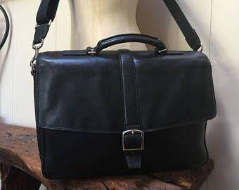 Vintage Coach bag, black leather bag, messenger bag, vintage Coach bag, silver hardware, crossbody briefcase, black leather briefcase