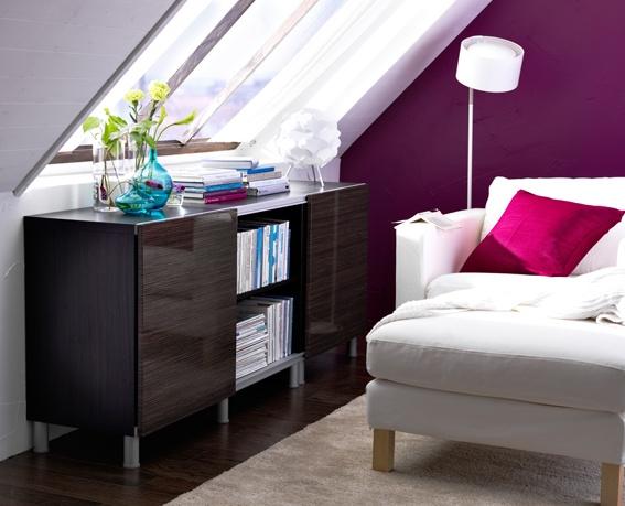 , Wohnzimmer, Aufbewahrung BESTÅ, Sessel KARLSTAD  IKEA Wohnzimmer