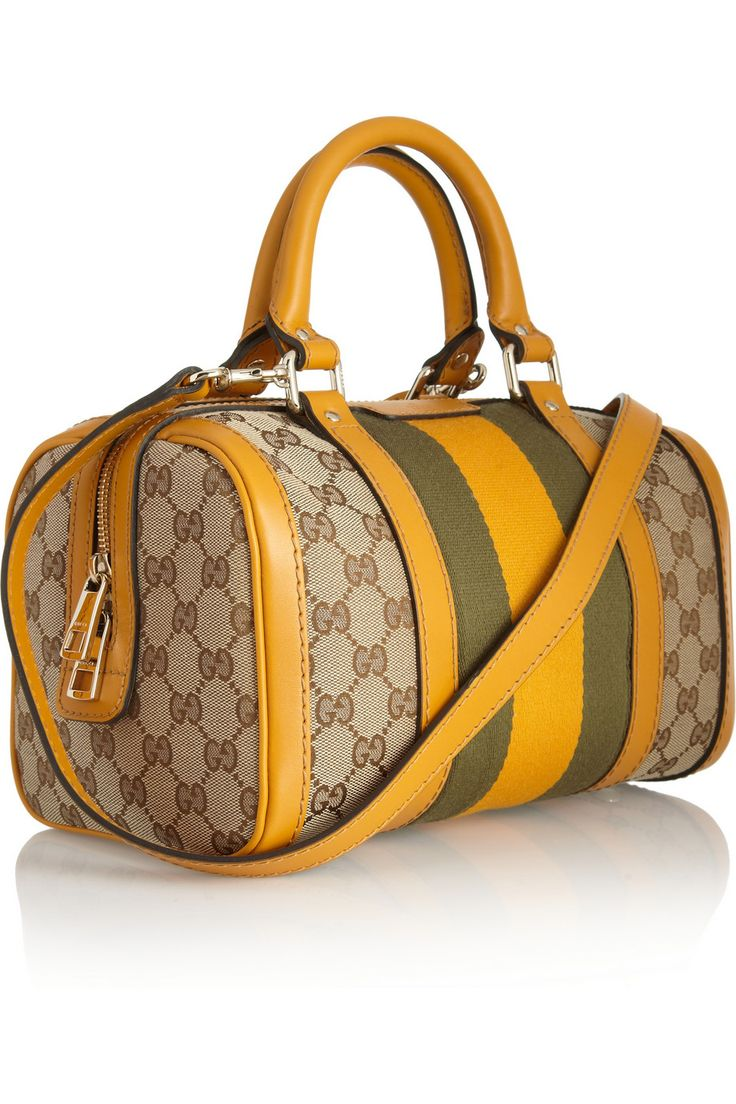 Gucci   Monogram leather and canvas tote   NET-A-PORTER.COM