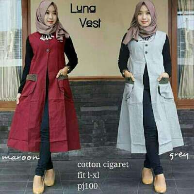Baju Muslim Remaja Luna Longvest Cantik - http://bajumuslimbaru.com/baju-muslim-remaja-luna-longvest #BajuMuslimOnline, #LongVest