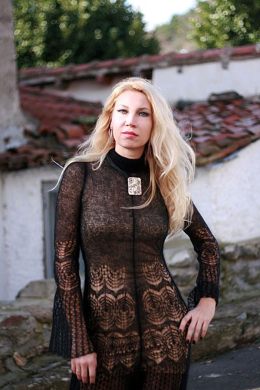 Платье аля Анжело Марани - вязаное платье спицами,мохер,мохер