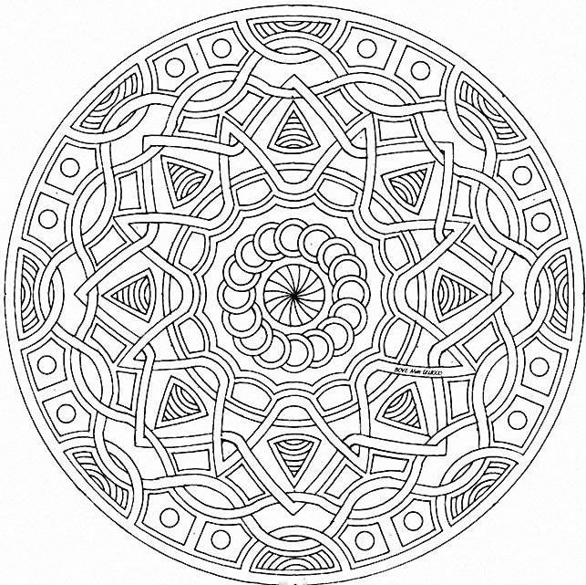 printable detailed coloring pages detailed geometric coloring pages mandala style pattern pictures - Design Pictures To Color