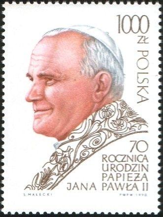 Znaczek: Pope John Paul II, 70th Birthday (Polska) (70th Birthday Pope John Paul II) Mi:PL 3265,Sn:PL 2966,Yt:PL 3071,Pol:PL 3117
