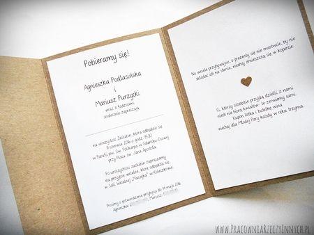 Rustykalne zaproszenie z sreduszkiem