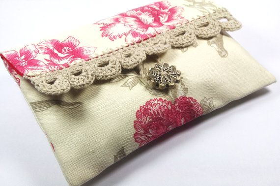 French toile Clutch pouch makeup cosmetic bag by chezviolette