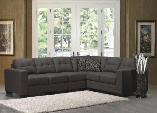 Contemporary 3 pc Sectional in Charcoal Linen Fabric