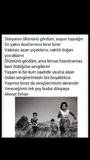 Dünyanın ölümünü gördüm, ... Ahmet Erhan