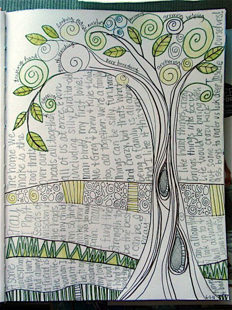 I like the doodle-y tree, and the journaling broken up by doodled borders, and the journaling running perpendicular to the tree. #artjournaling