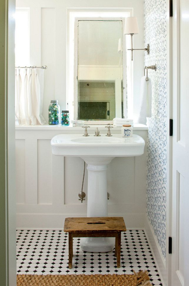 Small Bathroom Ideas. The wallpaper in this small bathroom