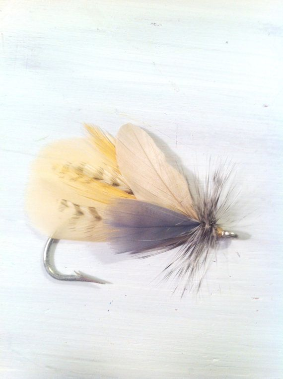 Fly fishing boutonniere  Yellow, champagne, tan, ivory, off white, grey, Rustic outdoor country woods woodland fishing hunting camping travel hike lodge feather hook lure groom groomsmen wedding