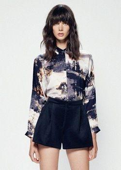ST1021 New Fashion Ladies' Stylish scenery painting blouses turn down collar long sleeve Shirt casual slim brand designer tops