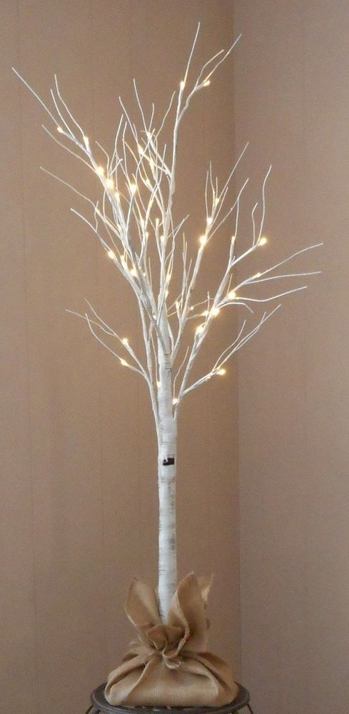 4' Birch Tree with 48 Glowing LED Lights Artificial Trees for Home Decor Fake  #ApothecaryCompany