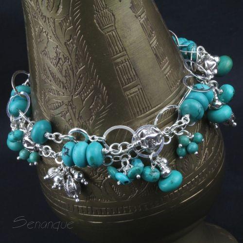 kobieca bransoletka z turkusami SENANQUE www.senanque.pl/trio-turkusso-srebrne-bransoletki-z-turkusami