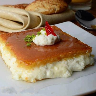 Lebanese Dessert ~ Knafeh! A typical Lebanese dessert that is also served for breakfast! Perfect with a drizzle of syrup prepared using Al Wadi Al Akhdar all natural waters (rose water, orange blossom water) >> http://www.alwadi-alakhdar.com/products/flower-essences