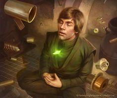 Jedi Knight Luke Skywalker using Force Meditation while assembling his Lightsaber during Star Wars Episode VI: Return of the Jedi era