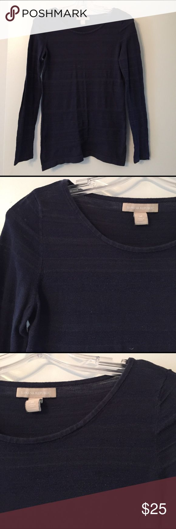 SOFT navy long sleeve top Worn once. Navy long sleeve with horizontal lines, SOFT! No signs of wear or damage. Banana Republic Tops Tees - Long Sleeve