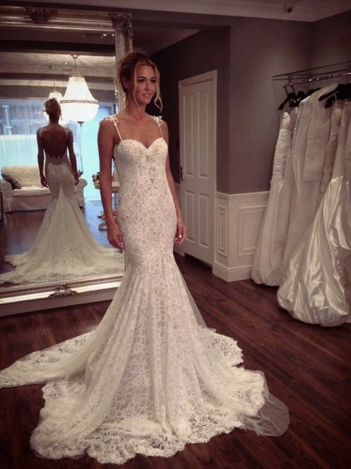$199- Elegant lace mermaid wedding dress with removable train
