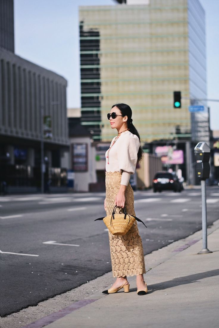 HallieDaily, Style, Street Style, OOTD, Outfit, Zara, Balloon-sleeve Knit Top, Robert Rodriguez, Lace Pencil Skirt, Chanel Camellia Sunglasses, 2017, Chanel Two Tone Shoes, Rebecca de Ravenel Necklace, Muun Straw Tote, Classic, Ladylike