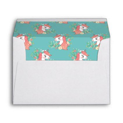 Floral Unicorn Liner Return Address Envelope - baby birthday sweet gift idea special customize personalize