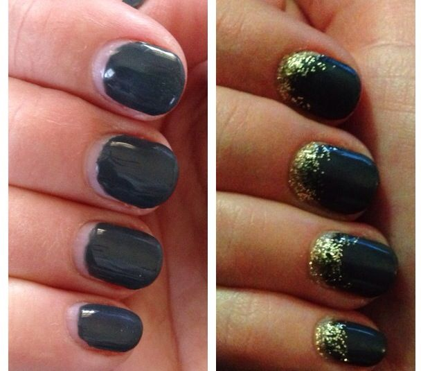 Stretch a gel #manicure even longer.  Just add glitter polish to the base of your #nails. This is week 2.5