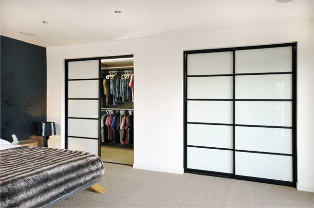 White Glass Oriental Sliding Wardrobe