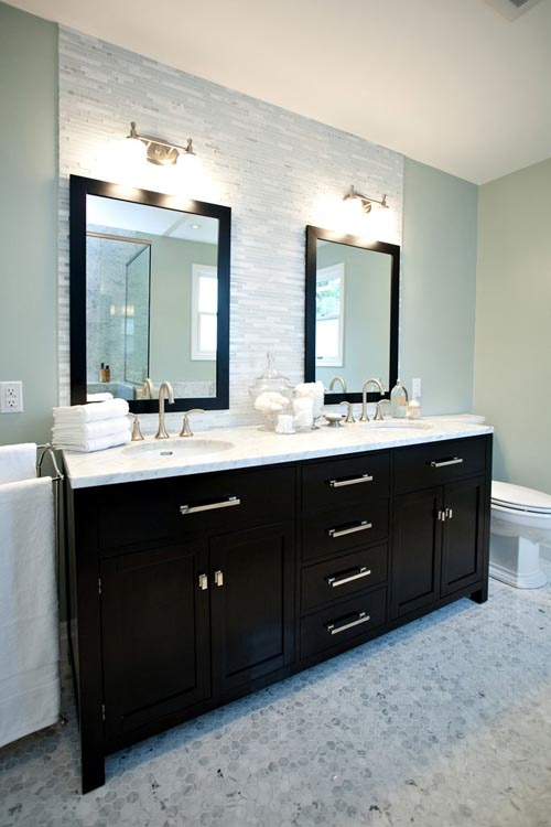 Like The Overall Look Minus The Tile Behind The Mirrors. Would Prefer A  Backsplash With