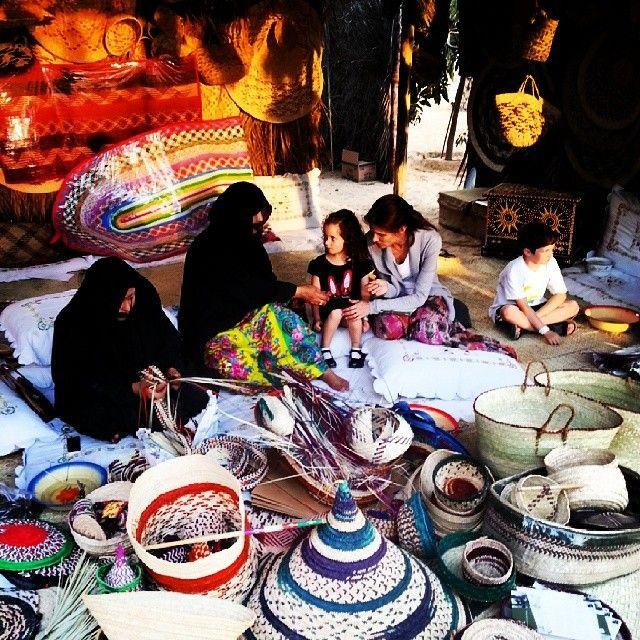 Al Hosn Palace, Abu Dhabi - Demonstrating traditional date palm (Khoos) weaving at the last of the Qasr Al Hosn festival---ecurbing