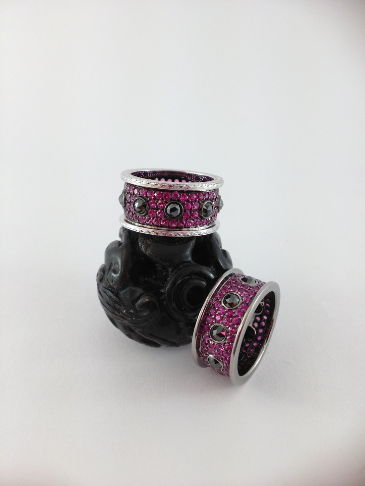 Diamond and Ruby rings in blackened 18kt white gold