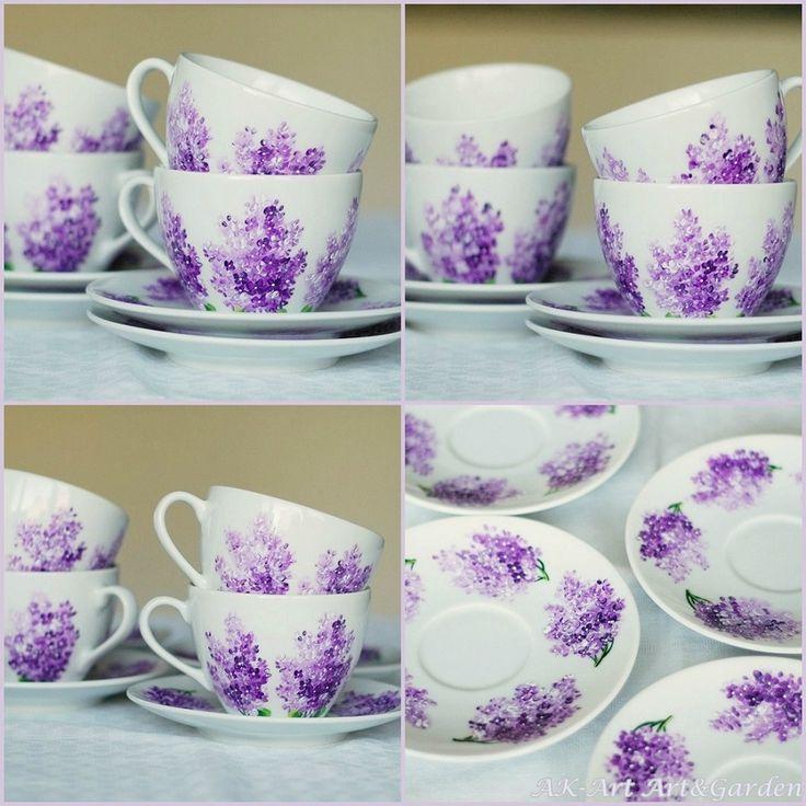 Ręcznie malowane filiżanki w bzy / lilaki /  Hand painted cups with lilacs