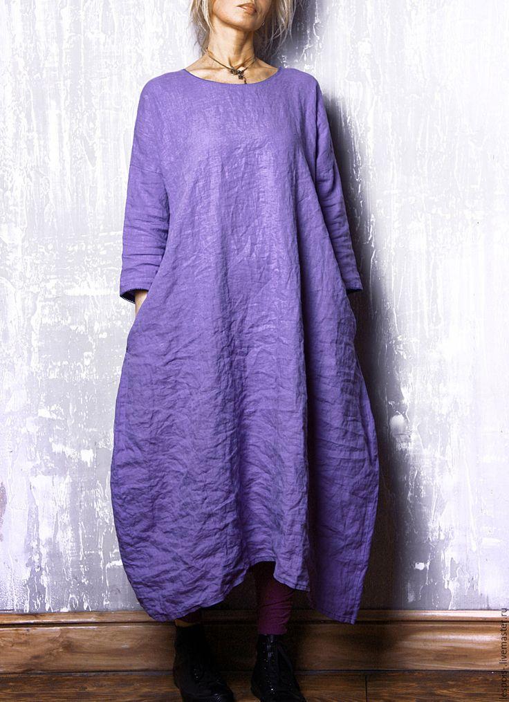 Купить Льняное платье - фиолетовый, льняное платье, лен 100%, лён 100%
