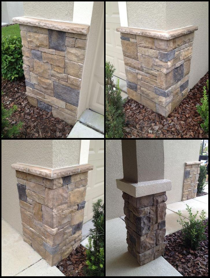 Dry Stacked Stone Columns Accent Corners Installation In