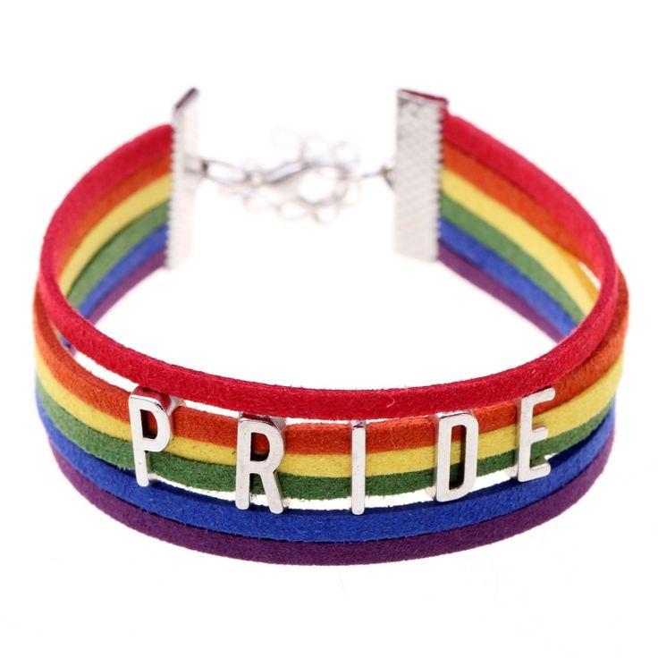 """Gay Pride Charming Bracelet """"#PRIDE"""" Bracelet Rainbow"""