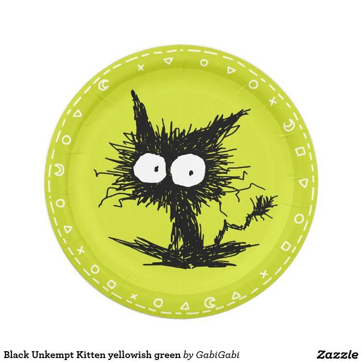 Vert jaunâtre de chaton mal peigné noir assiette en papier 17,8 cm