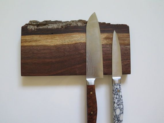 8 magnetic knife rack American Walnut natural edge by EEKnives, $44.99