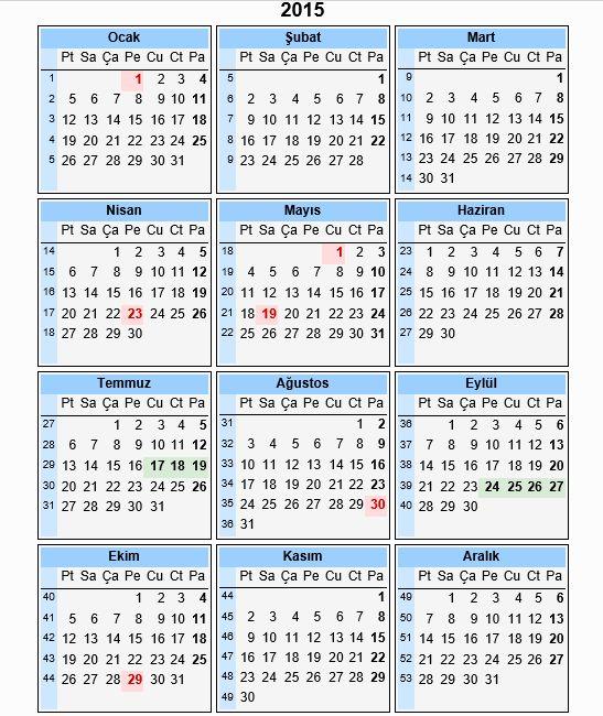 2015 takvimi - 2015 yılı takvimi - 2015 takvim