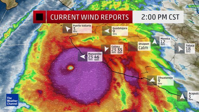 Hurricane Patricia, likely the largest hurricane to ever hit  the Western Hemisphere. Oct 23 2015. Current Wind Reports and Enhanced Satellite, on the Weather Channel