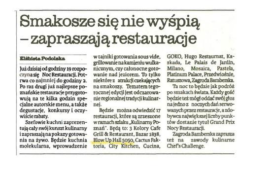 """2013.05.22 Głos Wielkopolski: """"Smakosze się nie wyśpią - zapraszają restauracje"""""""