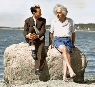 Albert Einstein at the beach (1939)