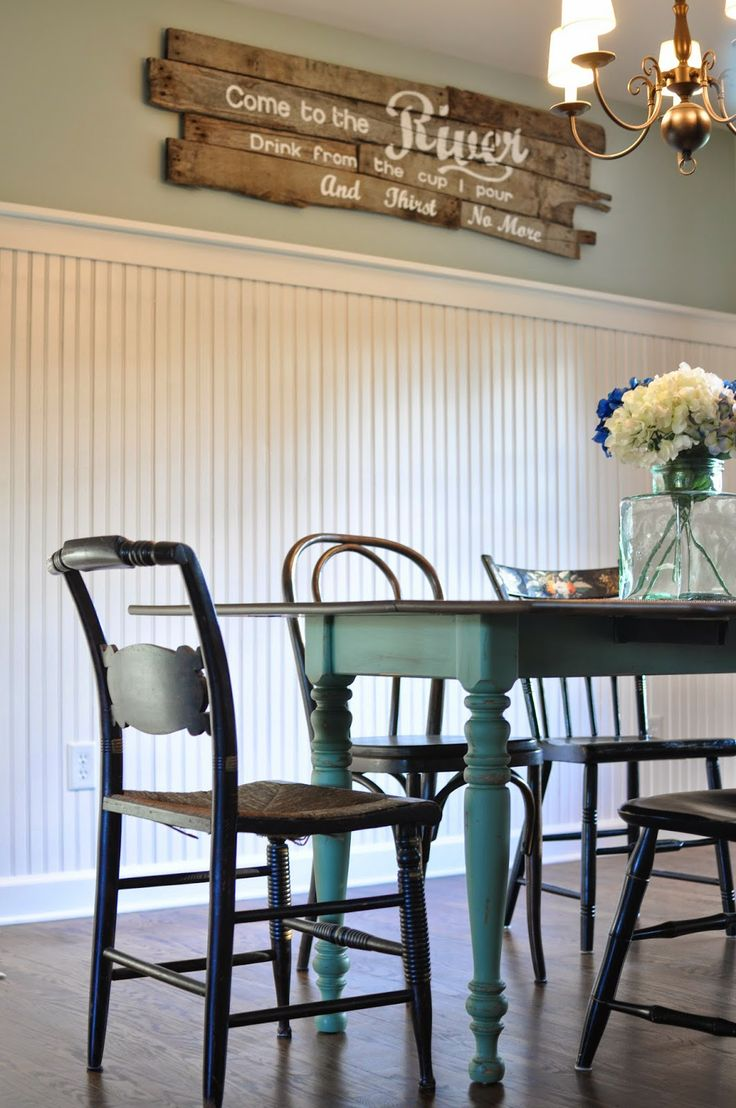 Benjamin Moore Palladian Blue Walls And Lehigh Green Table