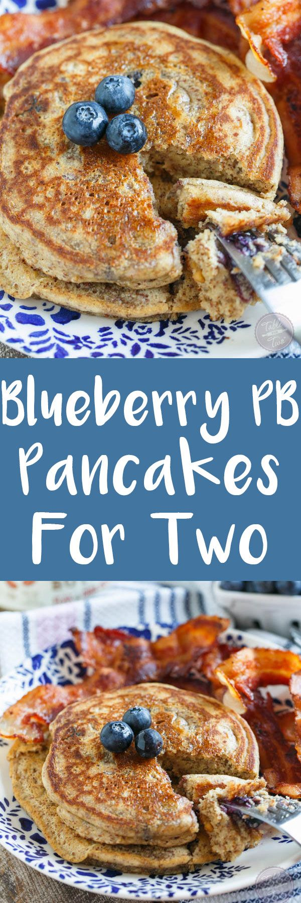 Blueberry peanut butter pancakes for two are the perfect breakfast for you and yours! They make just the right amount so you won't be stuck with leftovers and they're gluten-free and bursting full of fresh blueberries!
