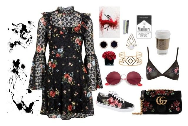 """""""Florals"""" by olivia-wikstrom on Polyvore featuring Topshop, Gucci, Vans, Ray-Ban, Hervé Gambs, Kate Spade and Stella & Dot"""