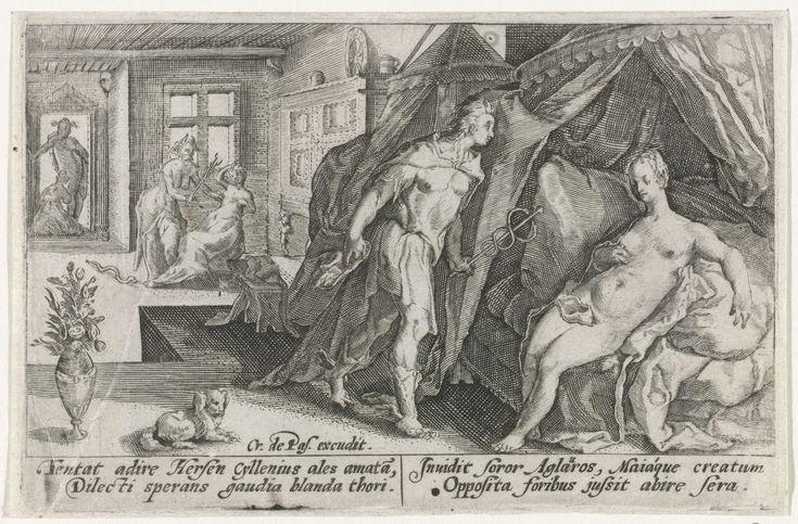 Crispijn van de Passe (I) | Mercurius en Herse, Crispijn van de Passe (I), Franco Estius, 1602 - 1607 | Mercurius betreedt de kamer van Herse, op wie hij verliefd is geworden. Op de achtergrond probeert Aglauros, de jaloerse zuster van Herse, Mercurius tegen te houden. In de marge een vierregelig onderschrift, in twee kolommen, in het Latijn.