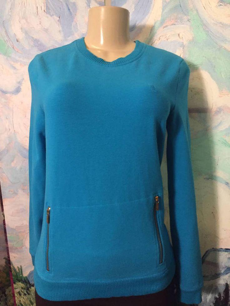 Lauren Ralph Lauren S Blue Zip Front Logo Ribbed Trim Long Sleeve Tunic Top #LaurenRalphLauren #FULLOVER #Casual