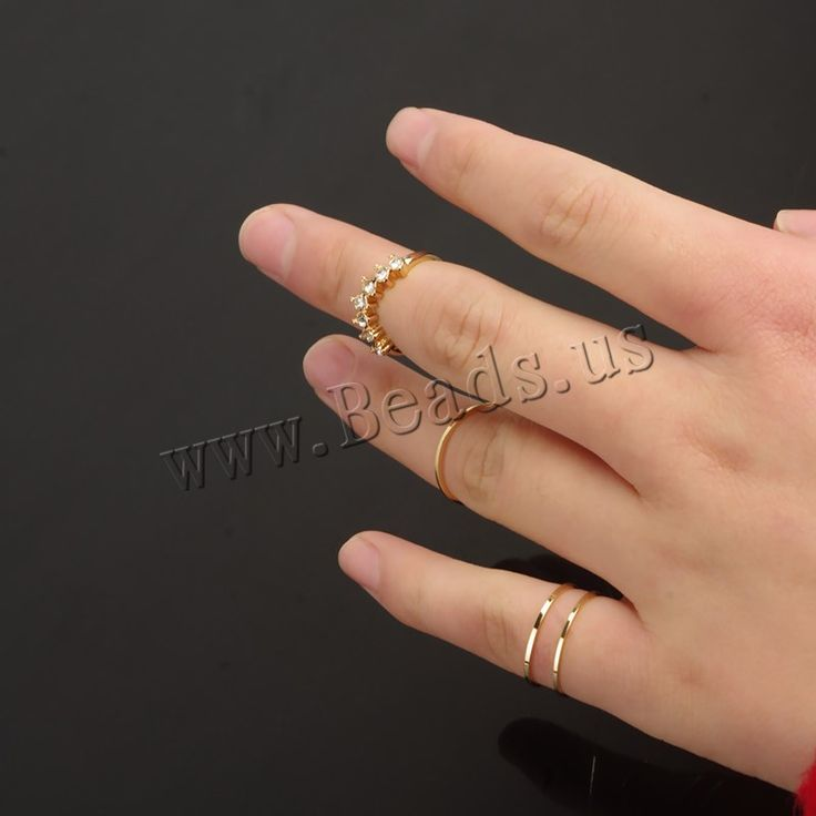 Mid Finger Ring, Zinc Alloy, gold color plated, with rhinestone, nickel, lead & cadmium free, 14mm-15mm