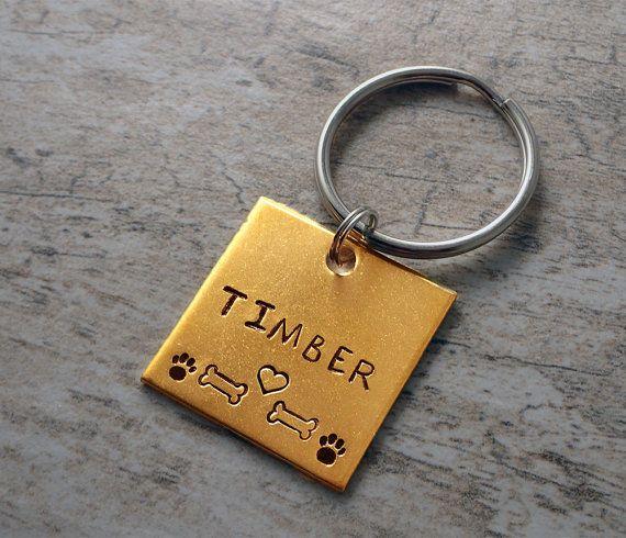 Square Pet Tag - Gold Pet Tags - Gold Dog Tags - Large Dog Tags - Large Pet Tags - Dog ID Tag - Dog Tags - Pet ID Tags - Pet Tags - Cat Tags