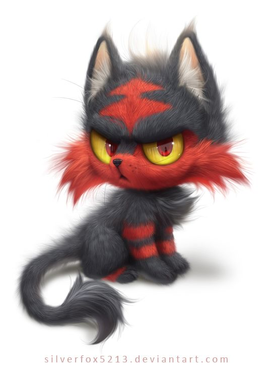 Litten by Silverfox5213.deviantart.com on @DeviantArt I think this is possibly the cutest piece of Litten fan art possible