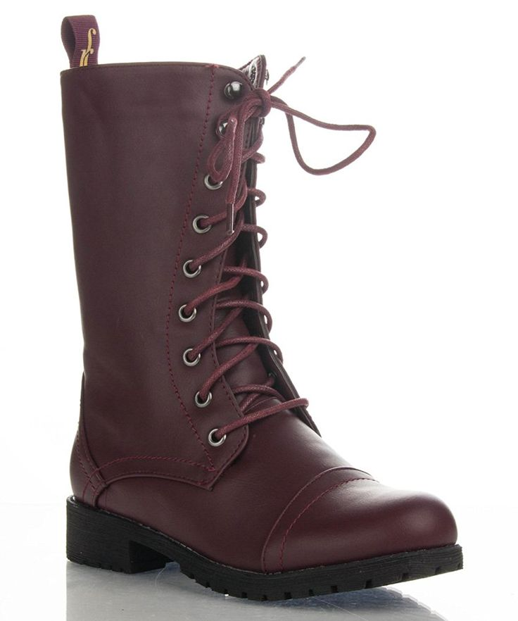 ROF Women's Military Combat Colored Lace Up Mid Calf Boots With Zipper Closure ** You can find more details by visiting the image link.
