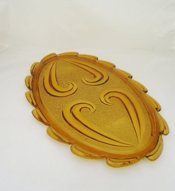 Vintage Amber Glass Bagley Tray Amber Glass by thesecretcupboard