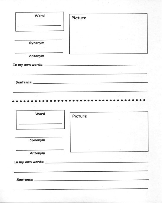 Vocabulary strategies academic vocabulary robert for Marzano vocabulary template