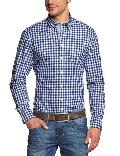 Tommy Hilfiger Men's Casual Shirt, Plaid Brian CHK CF2 / Navy Blue